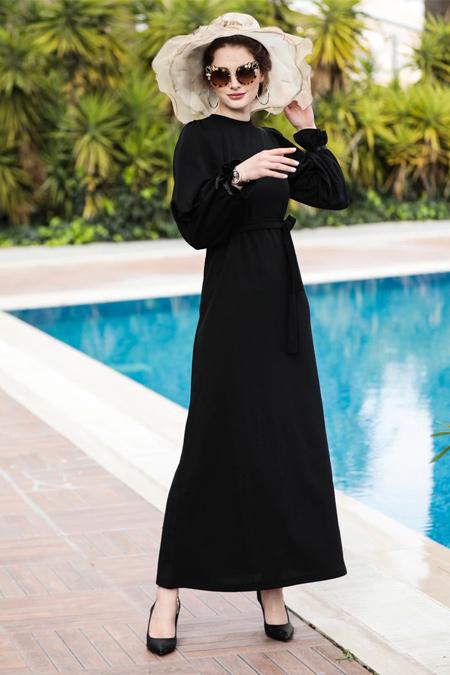 Selma Sarı Design Siyah Balon Kol Düz Elbise