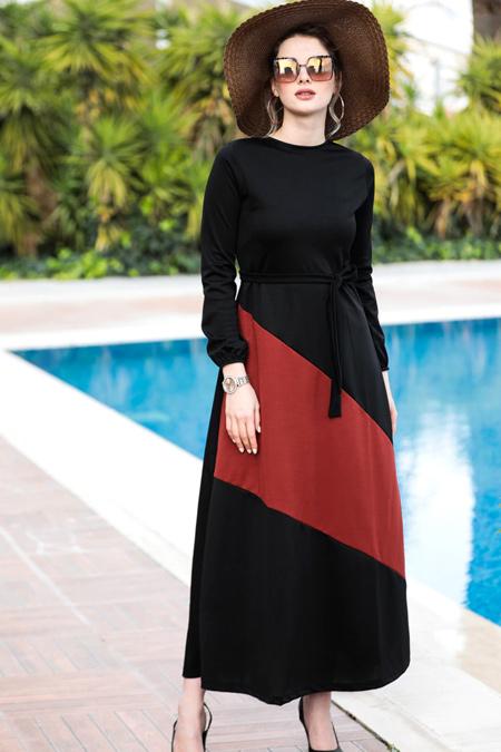 Selma Sarı Design Siyah Kiremit Garnili Elbise