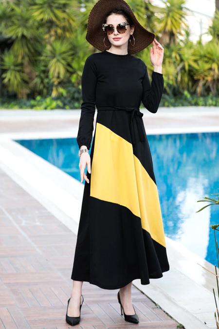 Selma Sarı Design Siyah Sarı Garnili Elbise