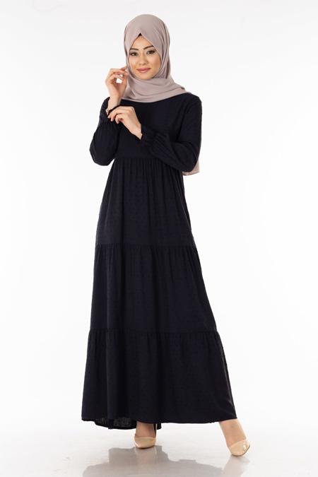 Siyah Pıt Pıt Desen Tesettür Elbise