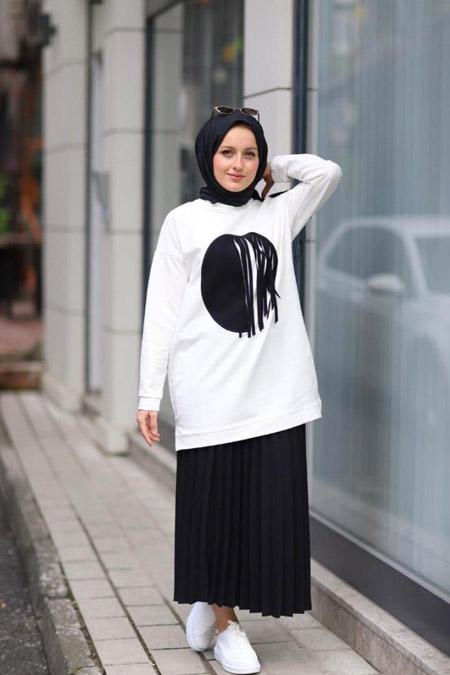 Storekokina Siyah Beyaz Elbise