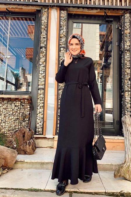 Tasarimeviiim Siyah Volan Krep Elbise