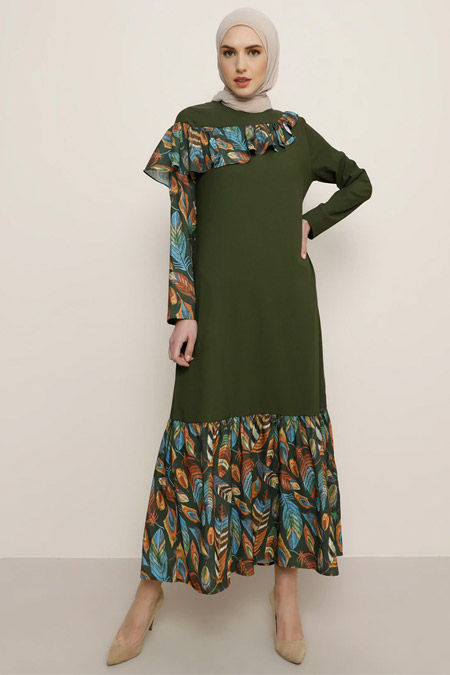 Tavin Haki Volan Detaylı Elbise