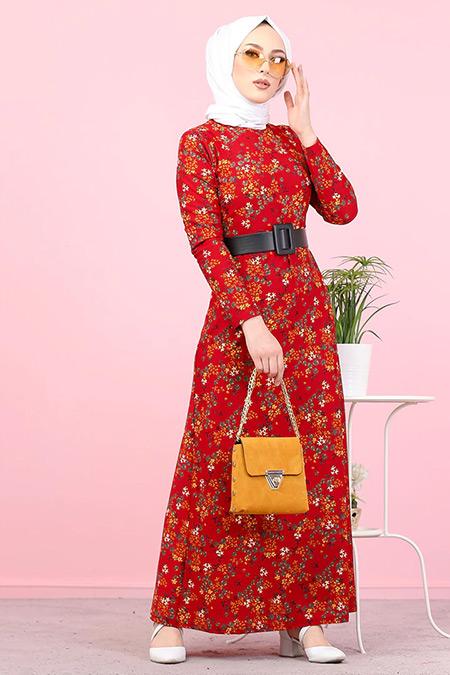 Tofisa Bordo Desenli Elbise
