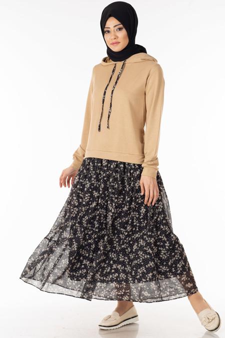 Vizon Eteği Şifonlu Tesettür Elbise