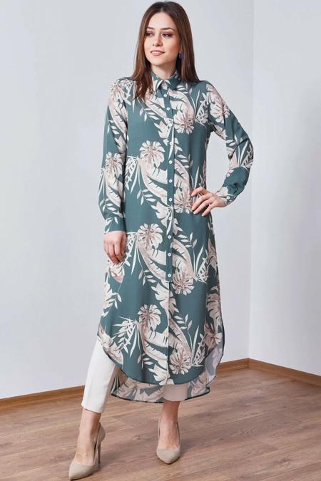 Wathka Haki Desenli Düğmeli Uzun Tunik