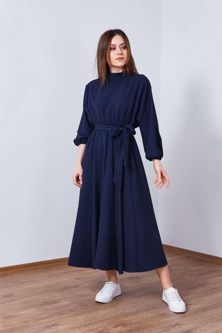 Wathka Lacivert Kuşaklı Bel Büzgülü Elbise