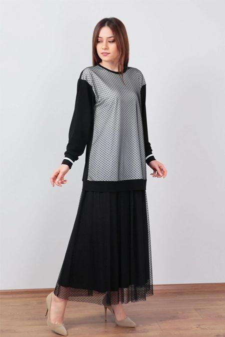 Wathka Siyah Desenli Tül Detaylı Tunik Ve Etek İkili Takım