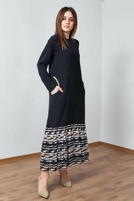 Wathka Siyah Piliseli Elbise