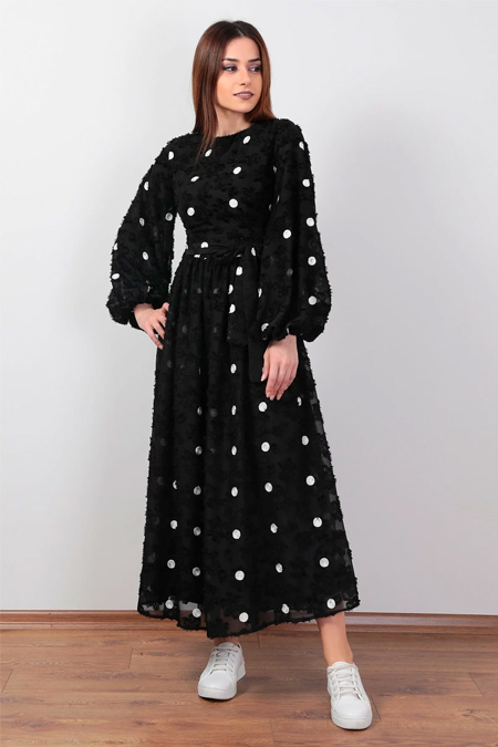 Wathka Siyah Puantiyeli Tüylü Elbise