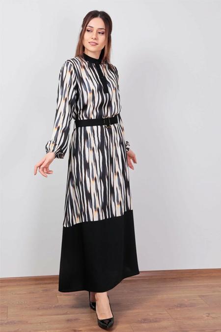 Wathka Siyah Zebra Desen Elbise