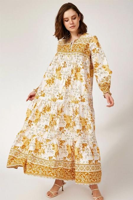 Bigdart Hardal Kol Büzgülü Robalı Çiçek Desenli Keten Elbise
