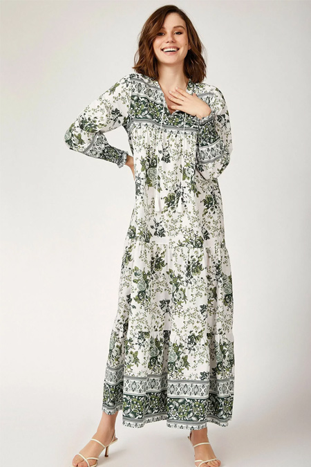 Bigdart Kol Büzgülü Robalı Çiçek Desenli Keten Elbise