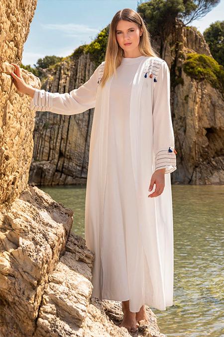 Alia Ekru Elbise&Kap İkili Takım