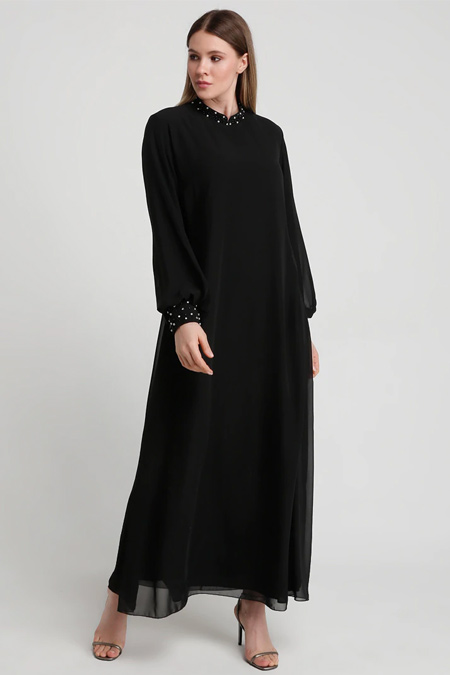 Alia Siyah Boncuk & Taş İşlemeli Abiye Elbise