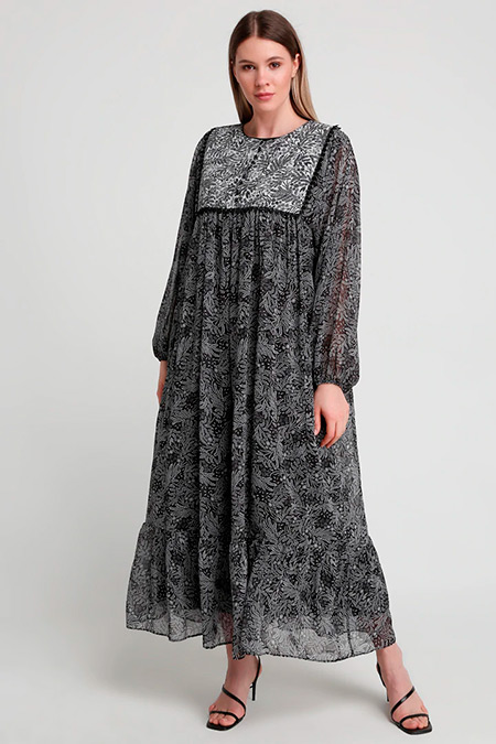 Alia Siyah Desenli Elbise