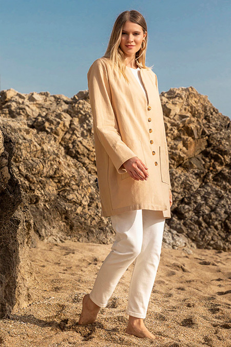 Alia Taş Doğal Kumaşlı Düğme Detaylı Ceket
