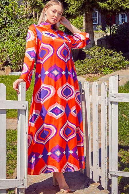 Ayşen Özen Mercan Balıkçı Yaka Desenli Elbise