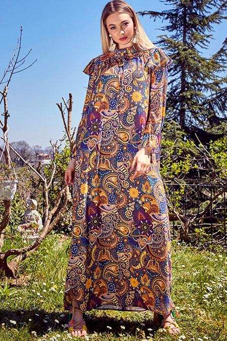 Ayşen Özen Mor Bohem Elbise