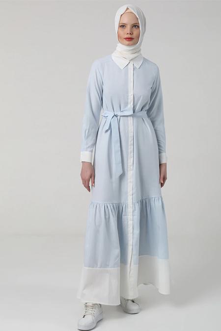 Benin Buz Mavisi Beyaz Garnili Düğmeli Elbise