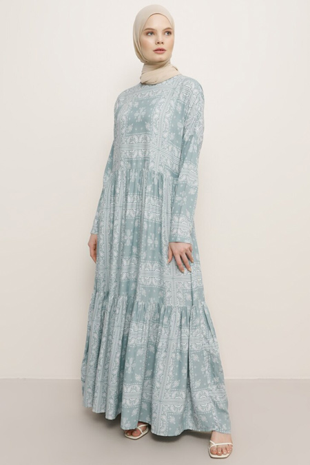 Benin Çağla Doğal Kumaşlı Elbise