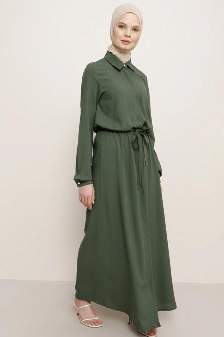 Benin Tropik Yeşil Doğal Kumaşlı Boydan Gizli Düğmeli Elbise