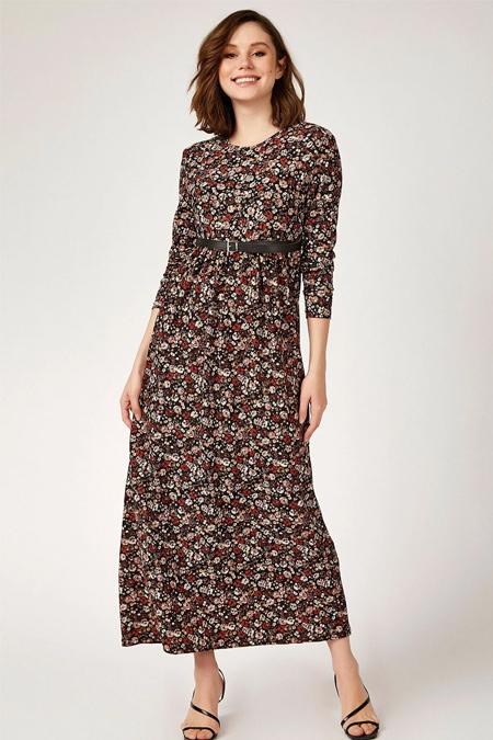 Bigdart Kemerli Çiçek Desenli Tesettür Elbise