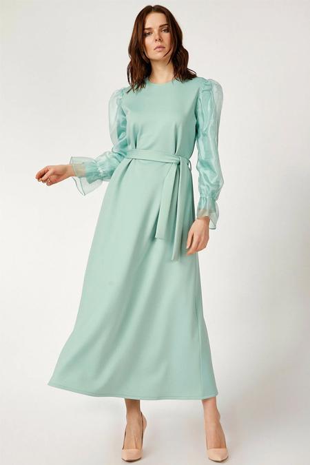 Bigdart Mint Şifon Kol Elbise