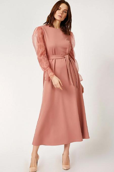 Bigdart Pudra Şifon Kol Elbise