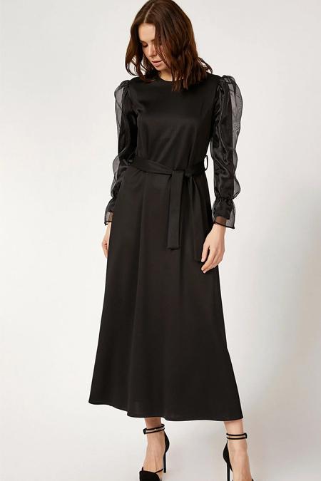 Bigdart Siyah Şifon Kol Elbise