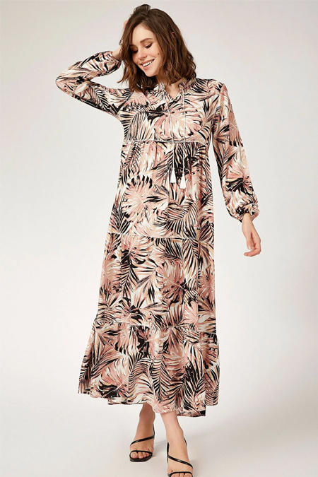 Bigdart Yaka Bağcıklı Tesettür Elbise