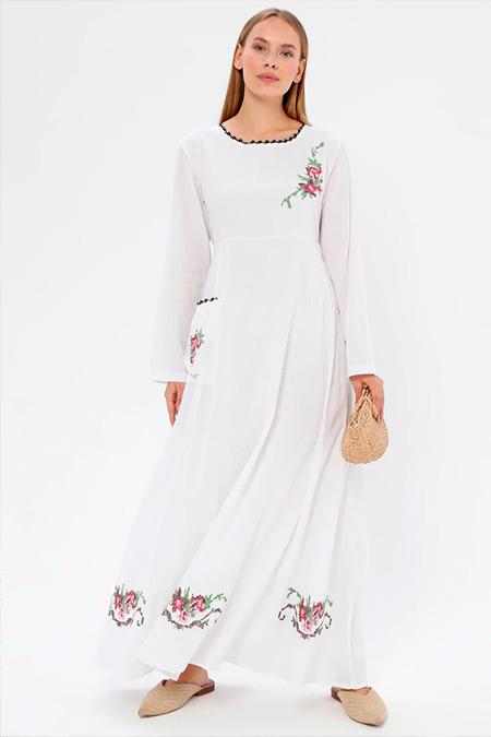 Elis Şile Bezi Beyaz Nakışlı Şile Bezi Elbise