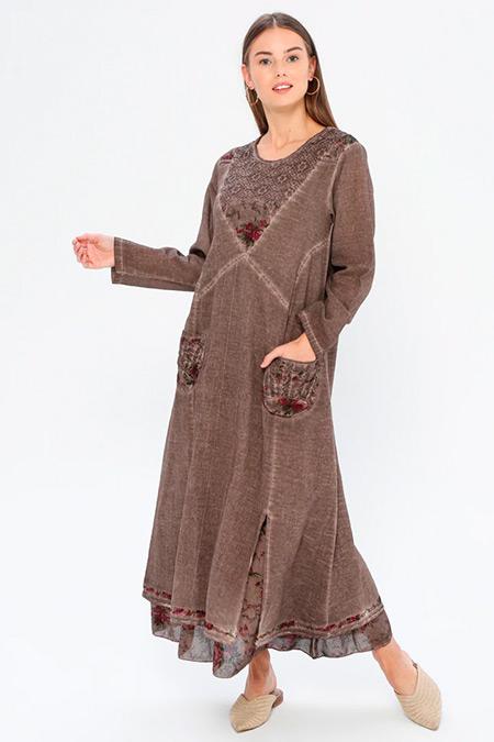 Elis Şile Bezi Kahverengi Nakışlı Şile Bezi Elbise