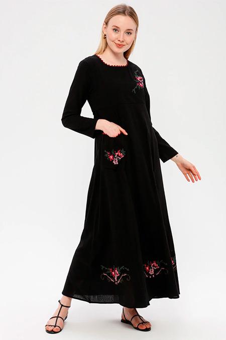 Elis Şile Bezi Siyah Nakışlı Şile Bezi Elbise