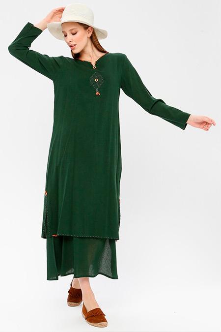 Elis Şile Bezi Yeşil Boncuklu Şile Bezi Elbise