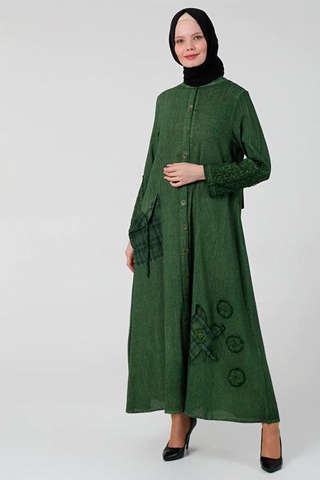 Elis Şile Bezi Yeşil Boydan Düğmeli Şile Bezi Elbise