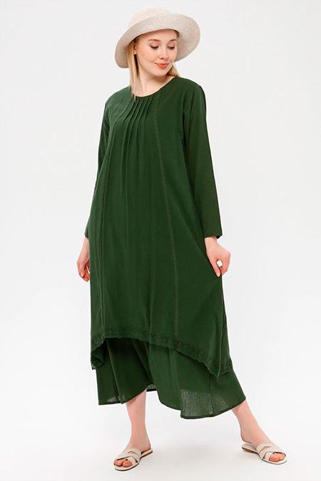 Elis Şile Bezi Yeşil Dantel Detaylı Şile Bezi Elbise