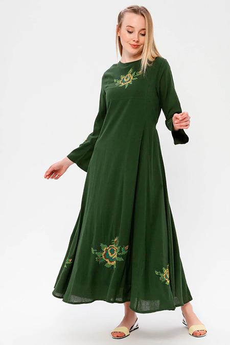 Elis Şile Bezi Yeşil Nakışlı Şile Bezi Elbise