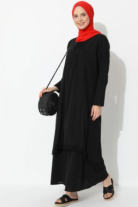 Elis Şile Bezi Siyah Şile Bezi Dantel Detaylı Elbise Tunik