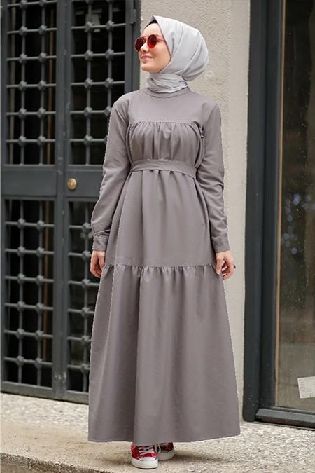 Gizce Gri Bwen Elbise
