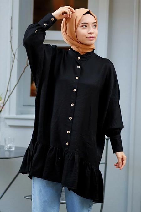Gizce Siyah Kaiya Gömlek