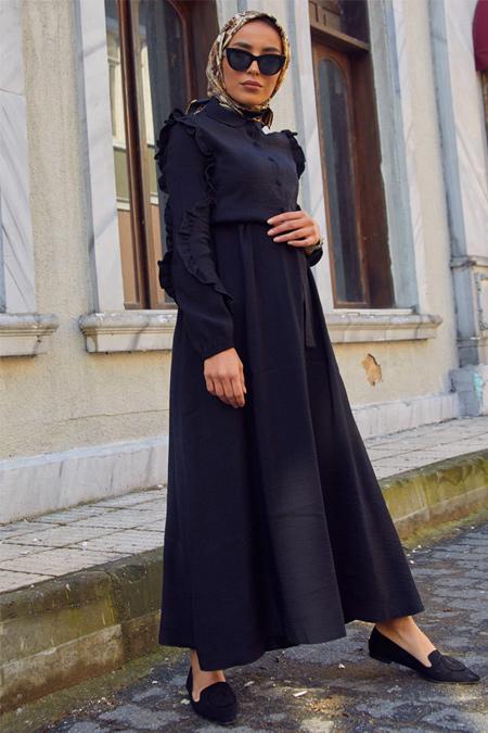 Gizem Kış Siyah Fırfırlı Elbise