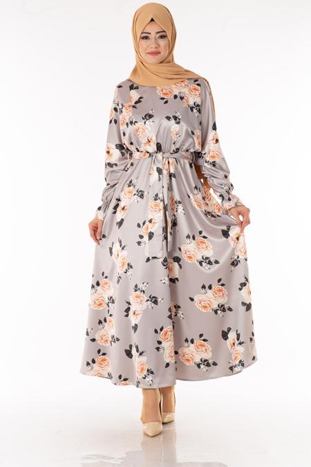 Gri Çiçekli Saten Elbise