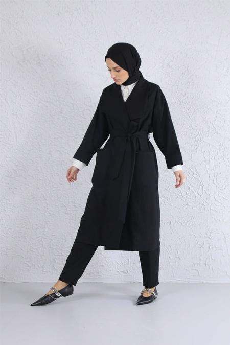 HE-QA Siyah Tencel Ceket