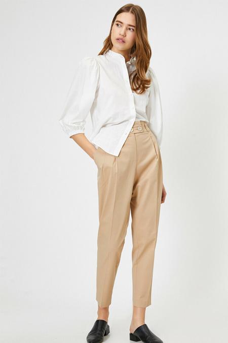 Koton Bej Yüksek Bel Düğme Detaylı Pantolon