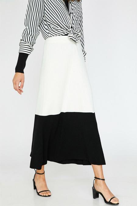 Koton Beyaz Siyah Renk Bloklu Etek