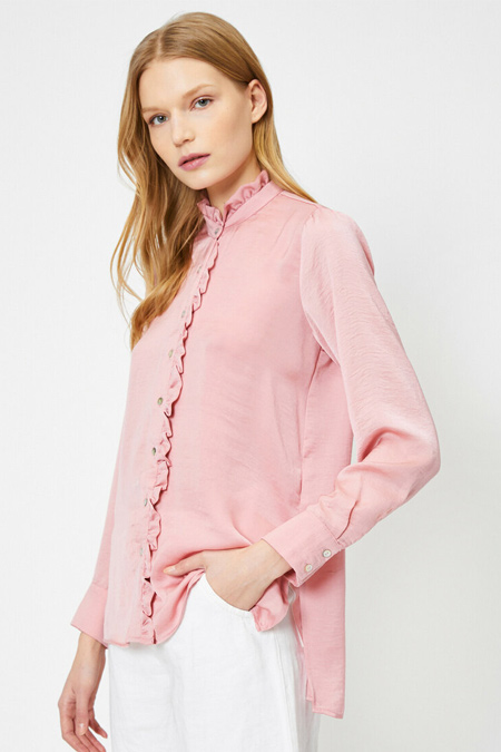 Koton Gül Fırfır Detaylı Uzun Kollu Gömlek