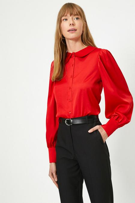Koton Kırmızı Klasik Yaka Gömlek