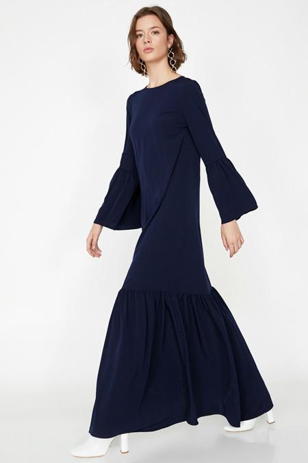 Koton Lacivert Fırfır Detaylı Elbise