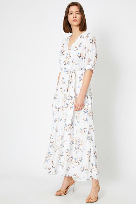 Koton Mavi Desenli Anvelop Maxi Elbise